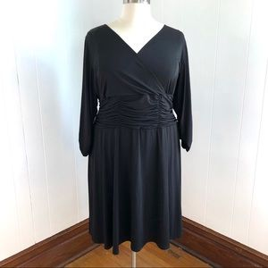 NY Collection Long Sleeve Black Faux Wrap Dress